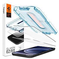 Защитное стекло Spigen для iPhone 12 Mini EZ FIT GLAS.tR Screen Protector (2 шт), Clear (AGL01811)