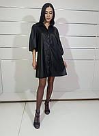 Жіноче плаття-рубашка чорне екошкіра