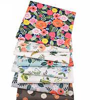 Набор хлопковых отрезов для рукоделия с цветочным принтом (8 отрезов 40*50 см)