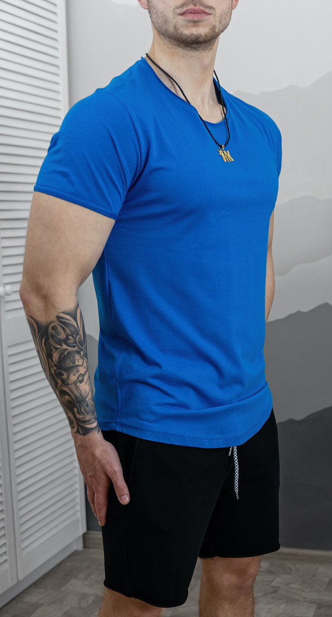 Мужская футболка приталенная Коралловая/ 15 цветов Синий
