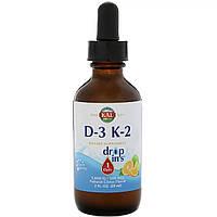 Вітамін D3+K2, Vitamin D-3 K-2 Drop, KAL, цитрусовий смак, 59 мл