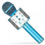 Беспроводной микрофон для караоке WS-858 WSTER BLACK. Цвет: голубой, фото 5