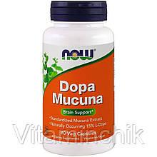 Мукуна Жгучая, Dopa Mucuna, Now Foods, 90 капсул