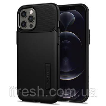 Чехол Spigen для iPhone 12 Pro Max Slim Armor, Black (ACS01479)