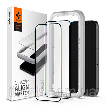 Защитное стекло Spigen для iPhone 12 / 12 Pro Glas.tR AlignMaster (2 шт), Black (AGL01802)