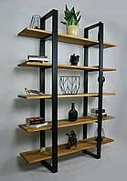 Металлический стеллаж с деревянными полками ЛОФТ / Стелаж металевий з дерев'яними полками ЛОФТ