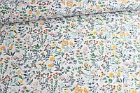 Ткань сатин Полевые цветы теплых оттенков