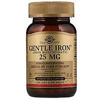 Хелатне залізо, Gentle Iron, Solgar, 25 мг, 90 капсул
