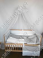 """Детское постельное белье в кроватку """"Горошек мелкий"""" комплект 7 ед. (серый горох/горох)"""