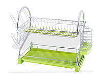Сушарка для посуду 2-х ярусна 53*25*37,5см з подоном (зелена) 0762A ТМ KAMILLE