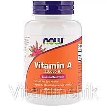 Вітамін А, Vitamin A, Now Foods, 25,000 МО, 250 желатинових капсул