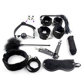 Черный БДСМ набор Госпожи для садо-мазо 10 предметов. Фетиш. классное качество