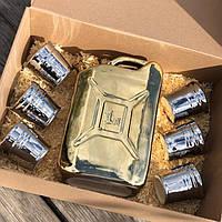 Подарочный набор для мужчины Дозаправка, канистра и 6 рюмок, видео обзор