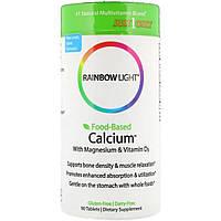 Кальций с Магнием и Витамином D3, Food-Based Calcium with Magnesium & Vitamin D3, Rainbow Light, 90 таблеток