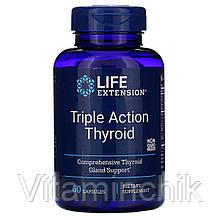 Поддержка Щитовидной Железы, Тироид тройного действия, Triple Action Thyroid, Life Extension, 60