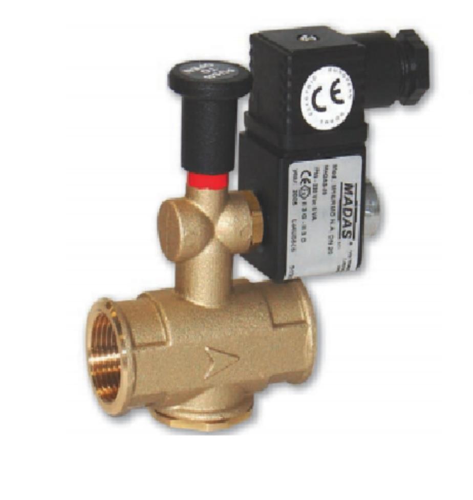 Электромагнитный клапан нормально открытый  MADAS M16/RMO N.A. DN25 (500mbar, 66x109, 12В)