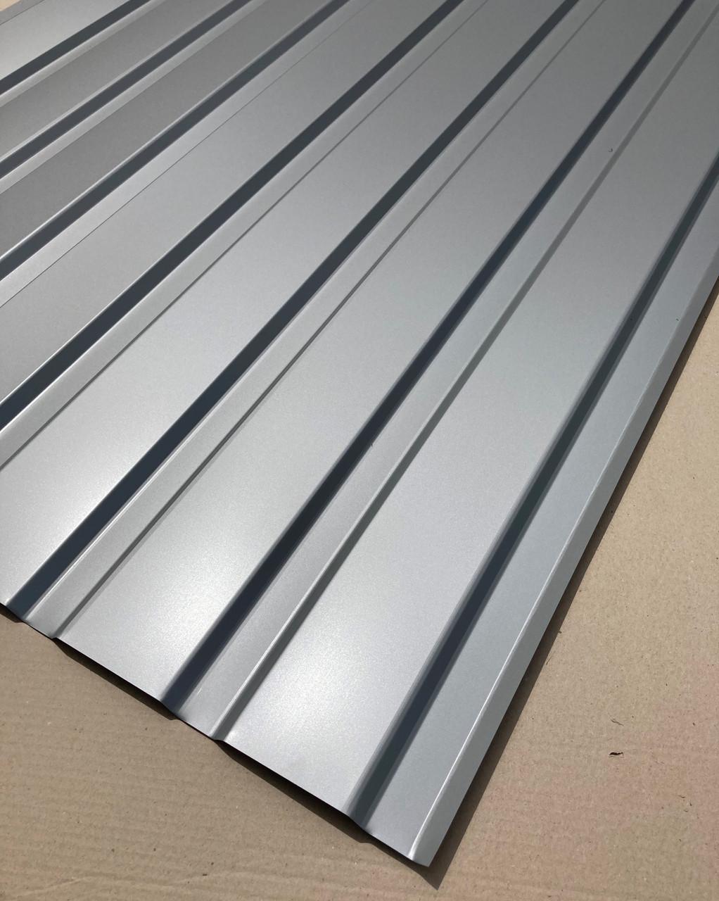 Профнастил  для забора, цвет: Серебро ПС-20 толщина 0,40 мм; высота 2 метра ширина 1,16 м
