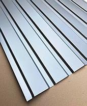 Профнастил  для забора, цвет: Серебро ПС-20 толщина 0,40 мм; высота 2 метра ширина 1,16 м, фото 3