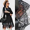 Женское свободное платье с кружевом Батал Черный, фото 9