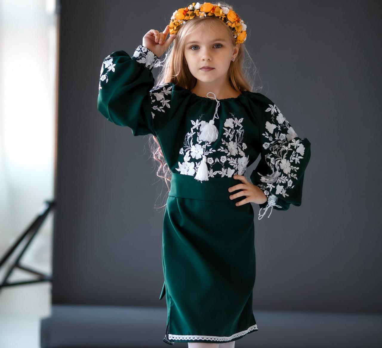 Плаття вишите квіткова гладь (5-12 років)