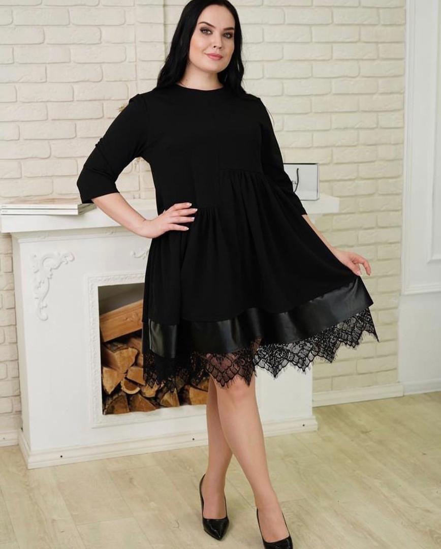 Женское свободное платье с кружевом Батал Черный