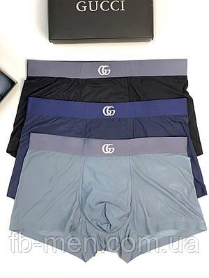 """Мужские трусы боксеры Gucci с логотипом """"G""""   Набор мужского белья Гуччи в коробке   Трусы-шорты Гуччи мужские"""