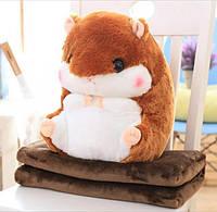 Детская мягкая игрушка подушка плед хомяк 3 в 1. Подушка-плед трансформер, флисовый, покрывало, одеяло