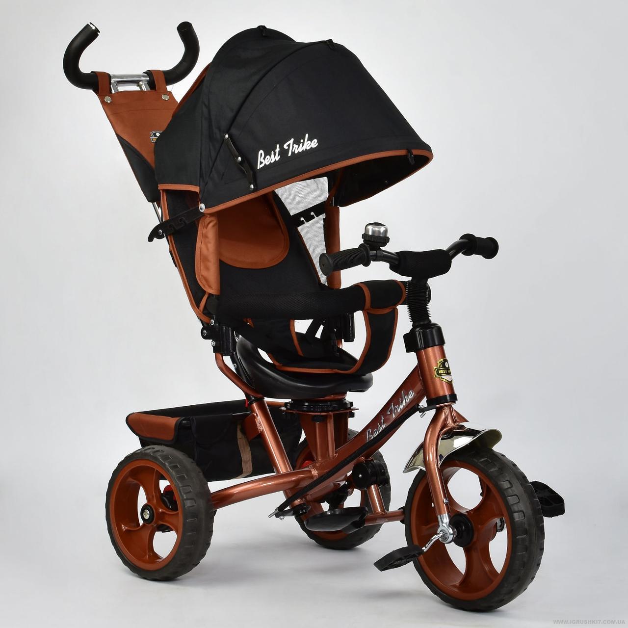 Велосипед 6570 3-х колёсный Best Trike (1) БРОНЗОВЫЙ, переднее колесо 12 дюймов d=28см, заднее 10 дюймов