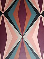 Обои виниловые  Lutece Bensimon геометрия фигуры призмы розовые бордовые серые черные синие, фото 1