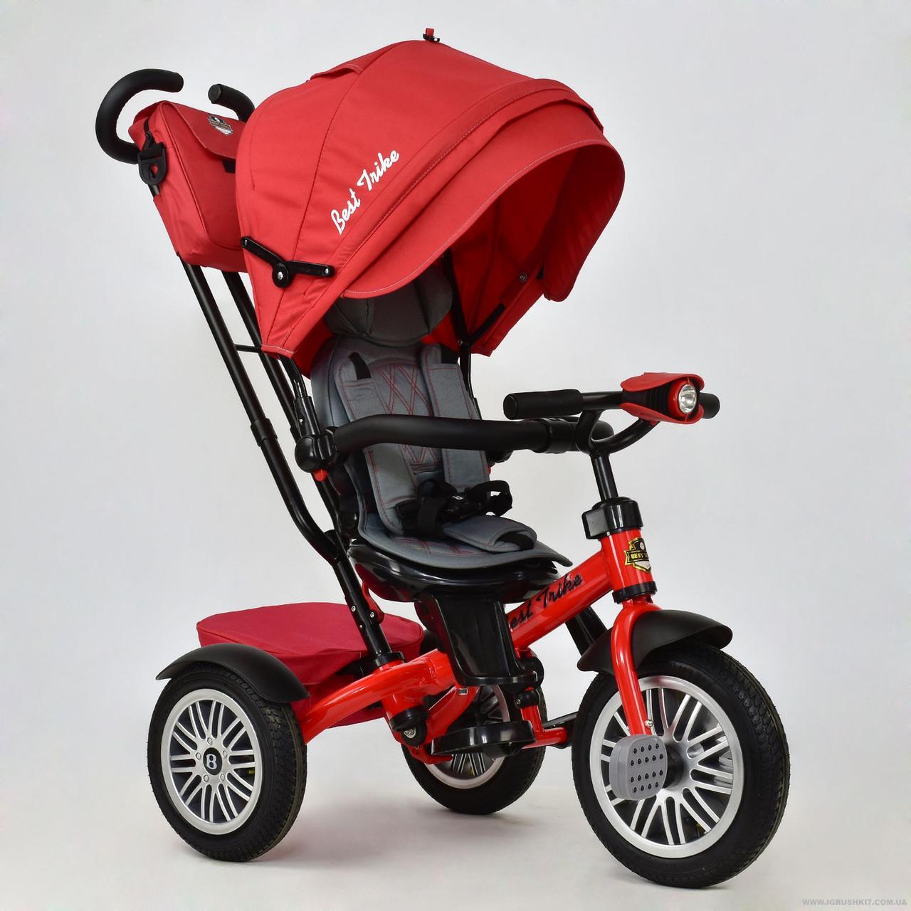 Велосипед 3-х колёсный 6188 В - 8450 Best Trike (1) КРАСНЫЙ, ПОВОРОТНОЕ СИДЕНИЕ, НАДУВНЫЕ КОЛЕСА, ФАРА СО