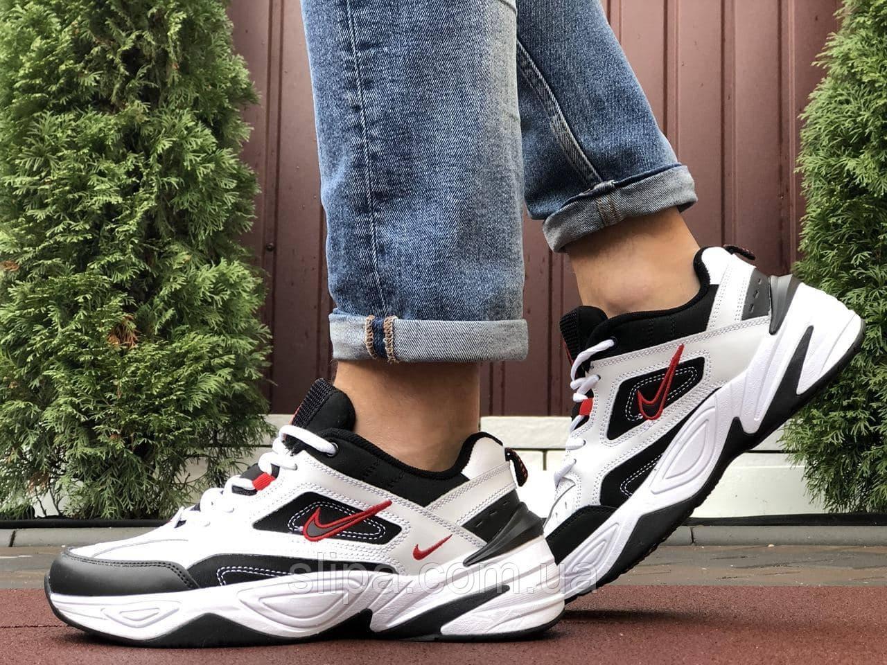 Мужские кожаные кроссовки Nike M2K Tekno белые с чёрным (красный логотип)