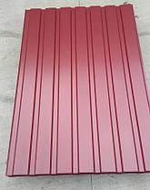 Профнастил для забору колір: Вишня ПС-20, 0,4-0,45 мм; висота 2 метри ширина 1,16 м, фото 3