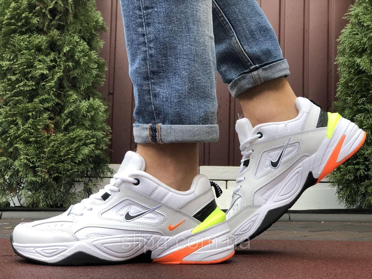 Мужские кожаные кроссовки Nike M2K Tekno белые с оранжевым и жёлтым