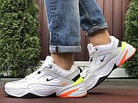 Мужские кожаные кроссовки Nike M2K Tekno белые с оранжевым и жёлтым, фото 1