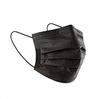 Черная маска медицинская 70 штук трехслойная заводская с зажимом