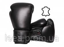 Боксерські рукавиці PowerPlay Чорні натуральна шкіра 14 унцій 3014 SKL24-238236