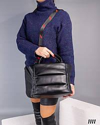 Женская черная сумочка натуральная кожа