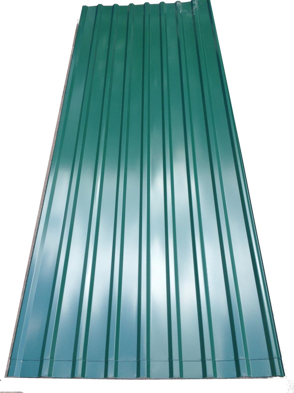 Профнастил кровельный  ПК-20 зеленый толщина 0,4 размер 3 Х1,15м