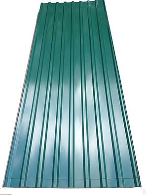 Профнастил кровельный  ПК-20 зеленый толщина 0,4 размер 3 Х1,15м, фото 2