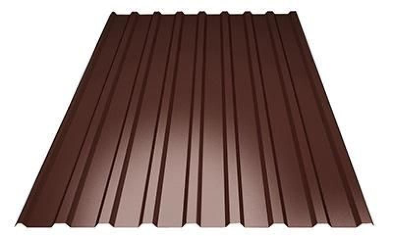 Профнастил кровельный  ПК-20 шоколадный толщина 0,4 размер 1,5Х1,16м