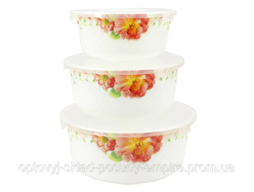 Набор салатников с крышкой 3 шт Шиповник розовый Lumines HDW-3В-61100