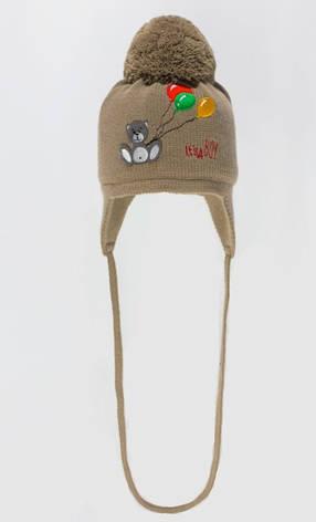 Качественная теплая зимняя вязанная шапочка с бумбоном., фото 2