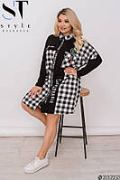 Женское платье рубашка в клетку батал 52-54 56-58 60-62 64-66