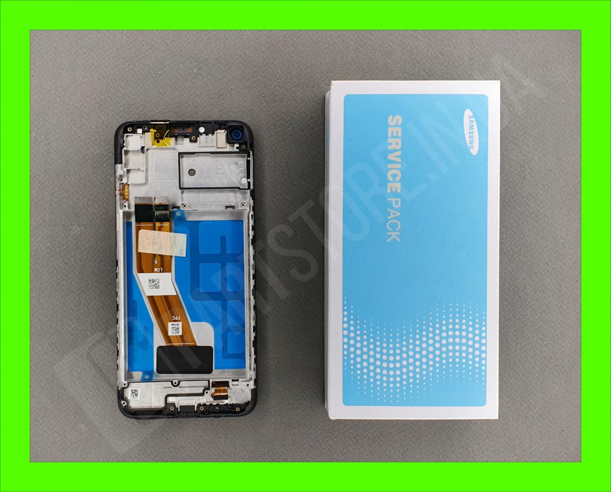 Дисплей Samsung M11 Black M115 2020 (GH81-18736A) сервисный оригинал в сборе с рамкой