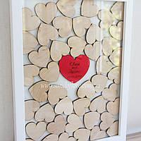 Картина з серцями для побажань, розмір 30*40 см, на 30-40 сердець