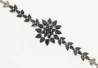 """Браслет ХР Родий """"Черный кристальный цветок"""" длина с доп.замком 17,19см х 8-25мм"""