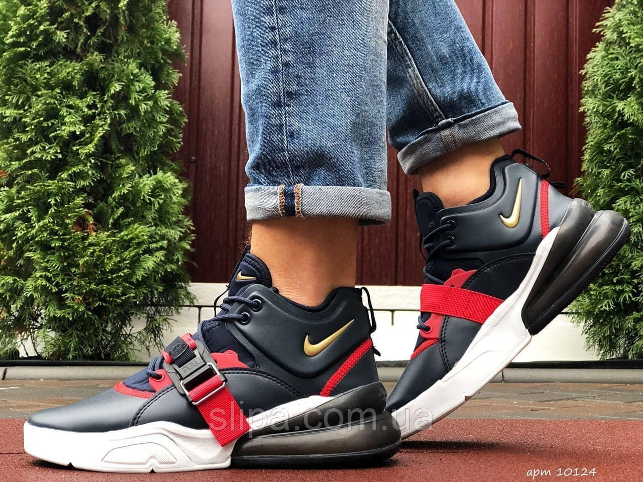 Чоловічі шкіряні кросівки Nike Air Force 270 темно сині з червоним