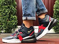 Чоловічі шкіряні кросівки Nike Air Force 270 темно сині з червоним, фото 1