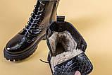 Черевики жіночі шкіра пітон чорні зимові, фото 9
