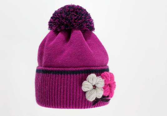 Красивая качественная вязаная шапка с отворотом женская.